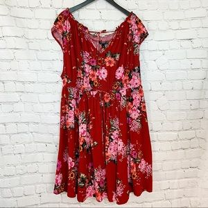 Torrid red floral challis mini dress tie neckline